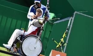 Iran's Zahra Nemati, a gold medal winner in the London 2012 Paralympics, shoots during the Rio 2016 women's archery in Rio de Janeiro.