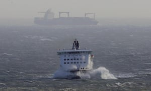 The DFDS Dover Seaways ferry crashes through waves as she arrives at The Port of Dover in Kent as Storm Eleanor lashed the UK