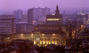 Preston city centre at night
