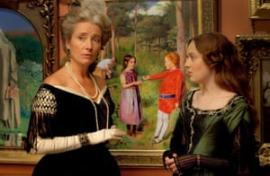 Emma Thompson and Dakota Fanning in Effie Gray, 2011. The film examines the relationship between John Ruskin and his teenage bride.