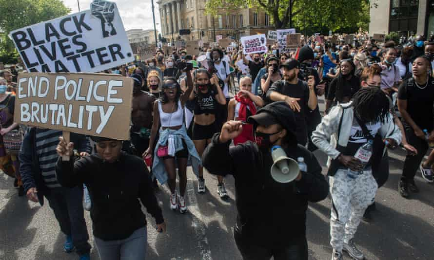 A Black Lives Matter protest in June 2020 following the death of George Floyd at the hands of police officers in Minneapolis on May.