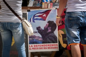 A poster of Castro is displayed at a bookstall