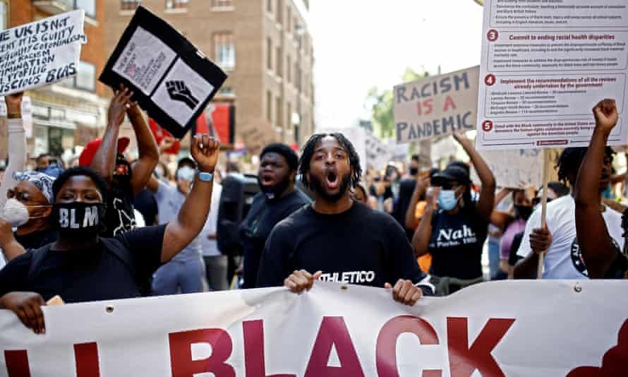 Demonstrators take part in a Black Lives Matter protest in London on 12 July 2020.
