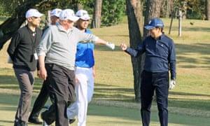 """President Donald Trump offers Japan's Prime Minister Shinzo Abe a fistbump. """