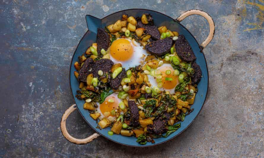 Black pudding and pink fir hash with duck eggs by Jess Murphy.