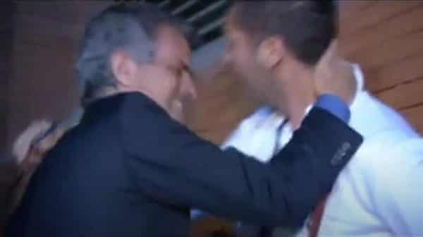 A tearful José Mourinho and Marco Materazzi embrace after the Champions League triumph.