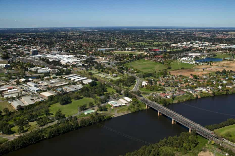 Aerial view of the Nepean River, Penrith, New South Wales, Australia