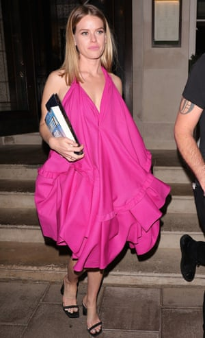 The actor Alice Eve in a billowing dress in London