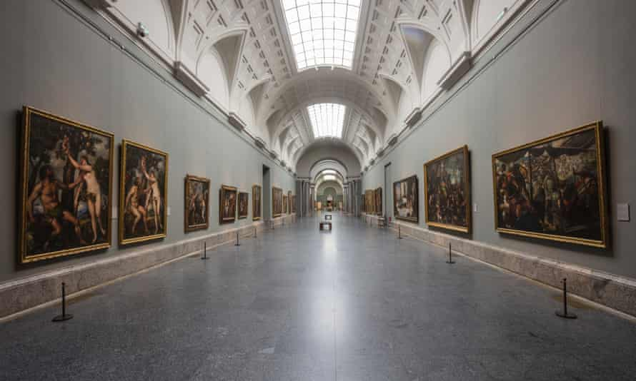 View of an empty gallery at Museo del Prado in Madrid.