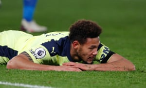 Newcastle United's Joelinton on the floor after missing a chance.