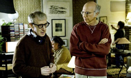 Woody Allen and Larry David on the set of the film Whatever Works (2009).