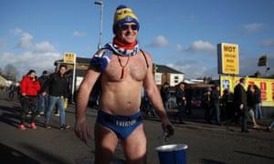 Speedo Mick outside Watford's stadium