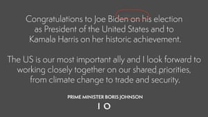 The prime minister's tweet to the US president-elect Joe Biden, with the original message faintly visible behind.