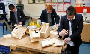 Pupils from Savio High School, Liverpool making Bat and Bird boxes
