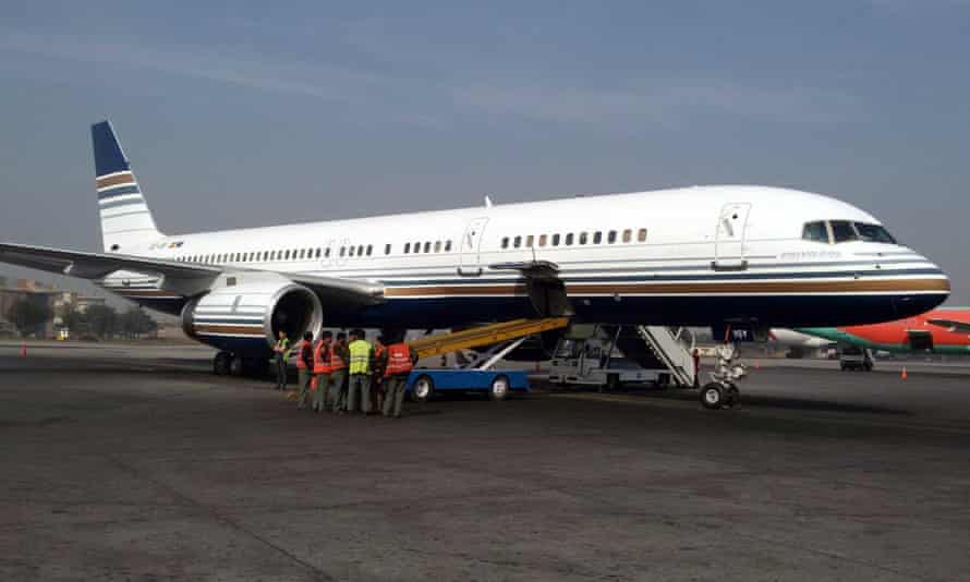 The Greek charter plane arriving at Benazir Bhutto international airport in Islamabad.