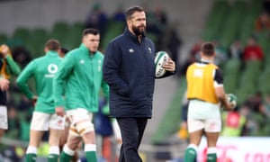 Andy Farrell watches his Ireland players prepare to face Wales