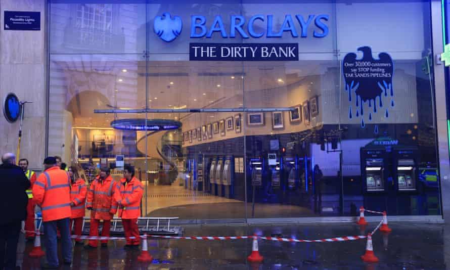 Greenpeace outside Barclays