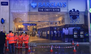 Greenpeace staged an anti-tar sands pipeplines protest at Barclays' Bank in Piccadilly Circus today.