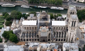 An aerial view of Notre Dame cathedral in Paris