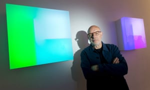 Brian Eno at his Light Music exhibition in London, 2018