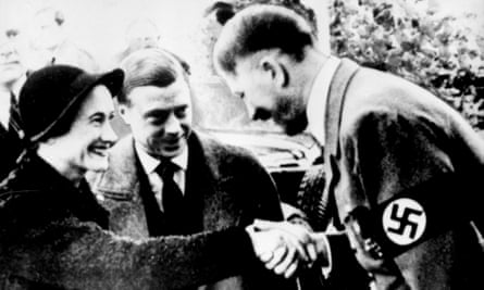 Edward and Wallis Simpson are greeted by Adolf Hitler during a visit to Nazi Germany in 1937.