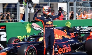 Max Verstappen celebrates after taking his first career pole position at the Hungarian Grand Prix.