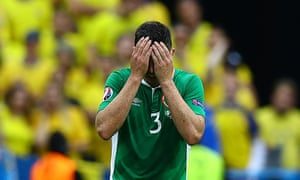 Ciaran Clark, scorer of the own goal, shows his dejection at full time