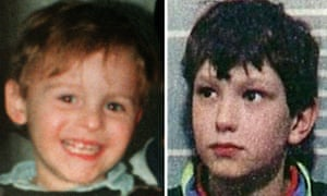 Jon Venables (R) at the time of his arrest in 1993 for the kidnap, torture and murder of two-year-old James Bulger (L).
