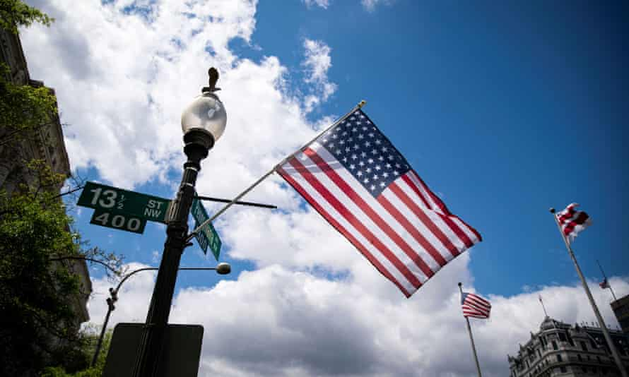 American flags with 51 stars, promoting the movement for the District of Columbia to become a state, are displayed along Pennsylvania Avenue in Washington.