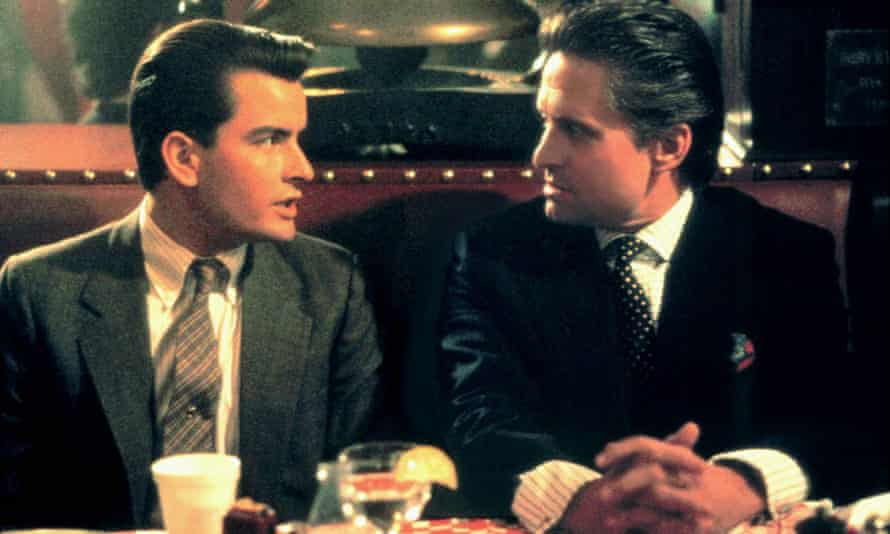 Charlie Sheen and Michael Douglas in Wall Street (1987).