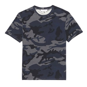 blue and grey camouflage t-shirt Sandro Paris