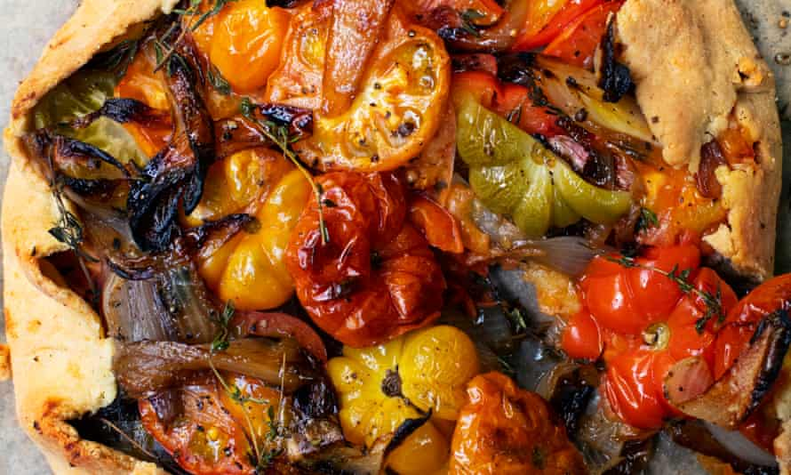 'Use a little baking powder, the olive oil pastry ends up beautifully crisp and light': tomato and shallot tart.
