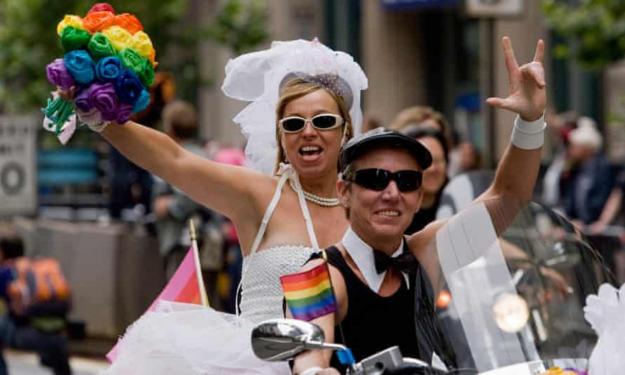 Dykes on Bikes at the start of the 38th annual San Francisco Pride parade, 2008.