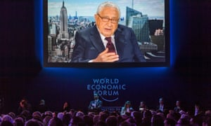 Former US secretary of state Henry Kissinger delivers remarks by video link on the closing day of the World Economic Forum.