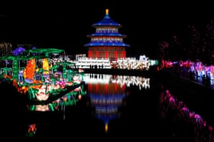 Santiago, Chile. Visitors at the Fesiluz International Chinese Lantern Festival. The show is in Latin America for the first time and will be open to public until the end of February 2020