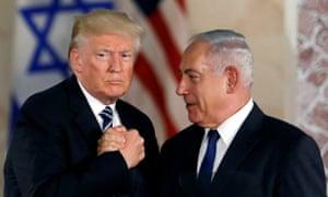 Donald Trump and Benjamin Netanyahu shake hands in Jerusalem