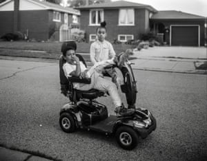 """Bertram's Scooter, Hamilton, Canada, 2017 'I understand that each image I contribute also adds to the representation economy. I've been really struggling a lot with the fact that when you see my photographs, you're seeing photos of Black people, and when you look at a Black body, period, everyone's always like, """"and then it's like this soulful""""'"""