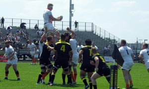 Austin Elite win a lineout against Houston SaberCats at Dyer Stadium in April.