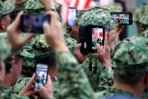 US troops take pictures of Donald Trump in Yokosuka, Japan