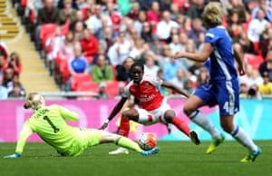 Asisat Oshoala scuffs her shot when through on goal.