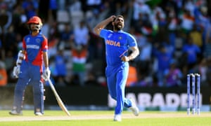 Mohammed Shami of India celebrates the wicket of Mujeeb Ur Rahman of Afghanistan, his hat-trick and victory.