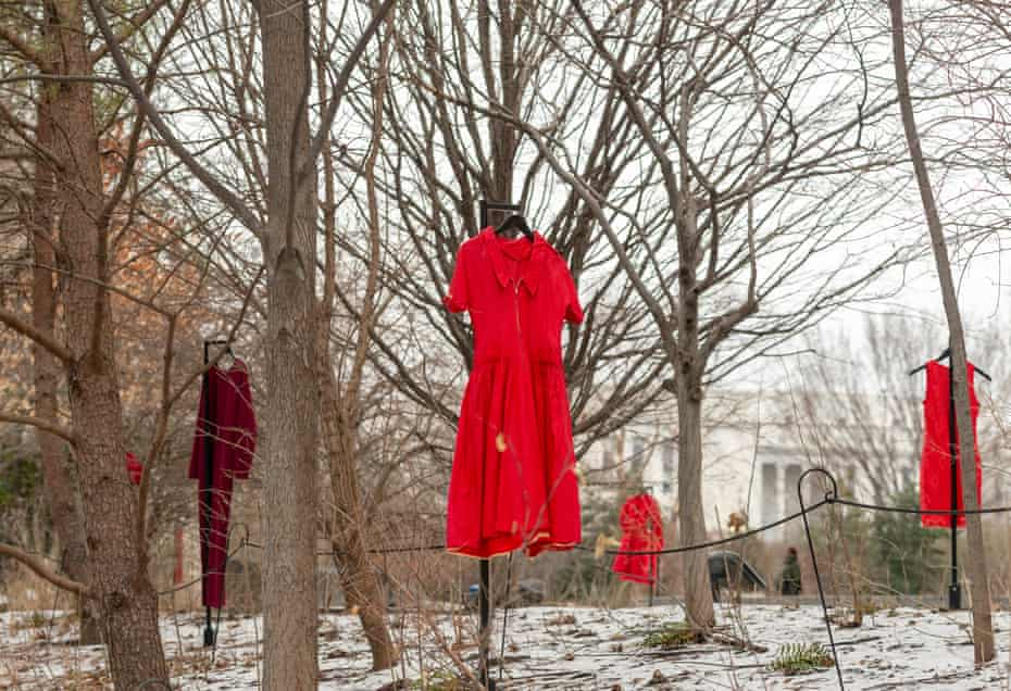 The REDress Project, an outdoor art installation by Métis artist Jaime Black at Smithsonian's National Museum of the American Indian in Washington DC.