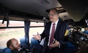Scott Morrison on the media bus, west of Devonport in Tasmania, on Wednesday
