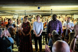 Composer Kate Whitley, centre, with soloists Ruby Hughes and Michael Sumuel.