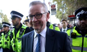 Michael Gove was given a police escort after leaving the House of Commons on Saturday