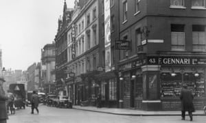 A view down along the shops, cafes and bars from the junction of Old Compton Street and Frith Street in 1959.