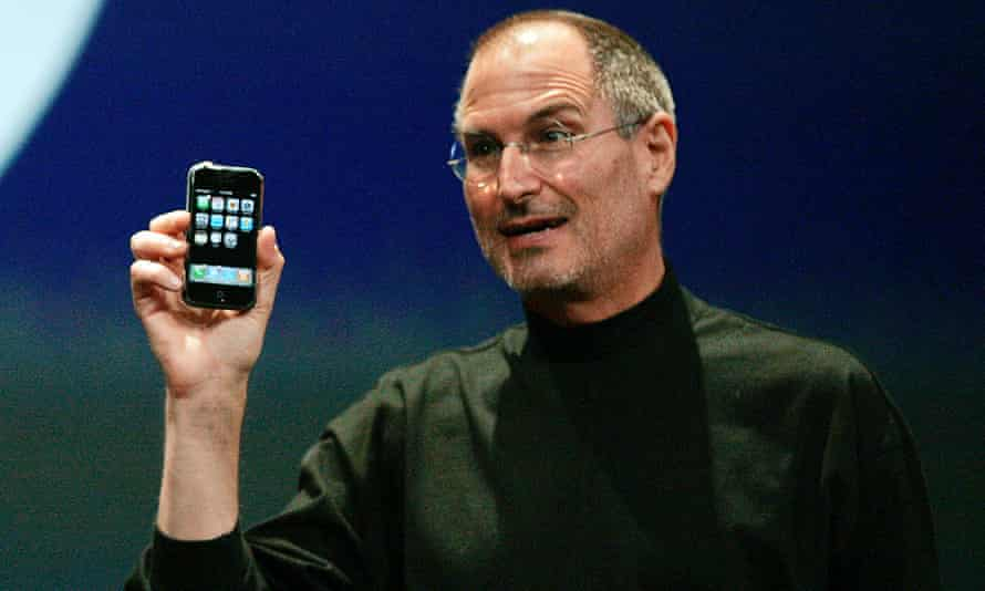 Former Apple CEO Steve Jobs launching the iPhone in January 2007.