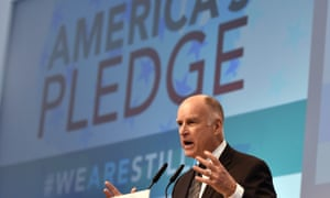 California governor Jerry Brown and Michael Bloomberg's 'America's Pledge' campaign works to compile and tally the climate actions of states, cities, colleges, businesses, and other local actors across the US economy.