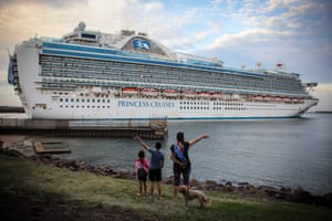 The Ruby Princess cruise ship is waved off as she departs Port Kembla. Wollongong, Australia