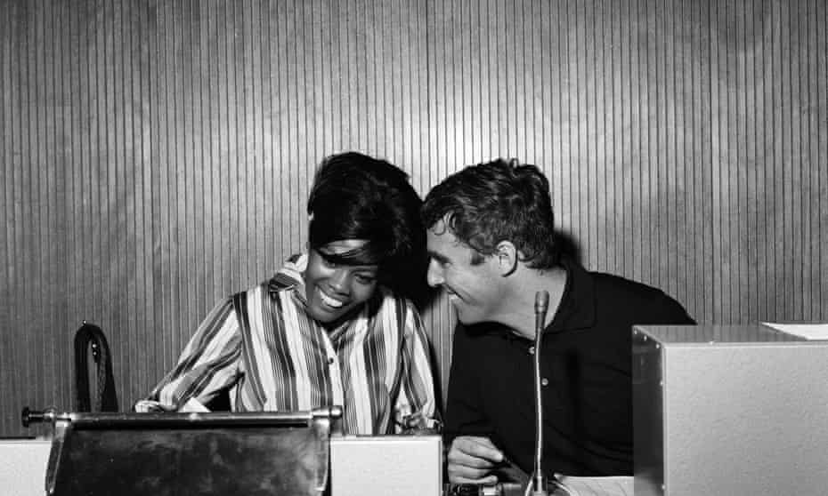 Bacharach and Dionne Warwick recording a song at the Pye studios in London, in 1964.